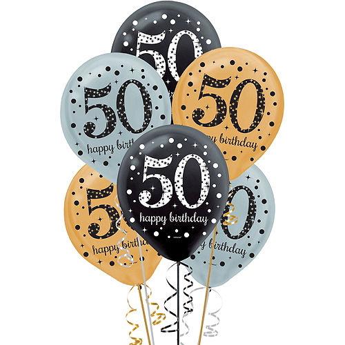 50th Birthday Balloons 15ct - Sparkling Celebration Image #1