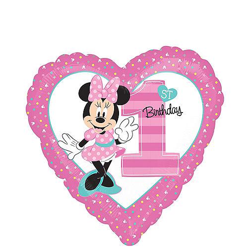 1st Birthday Minnie Mouse Heart Balloon Image #1