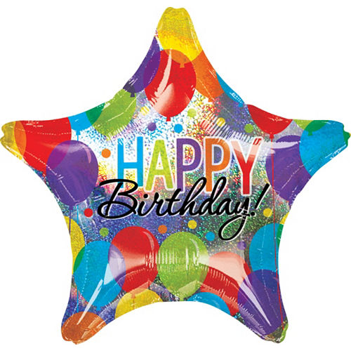 Giant Rainbow Balloon Bash Star Happy Birthday Balloon 28in Image #1