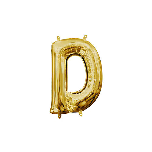 13in Air-Filled Gold Letter Balloon (D) Image #1