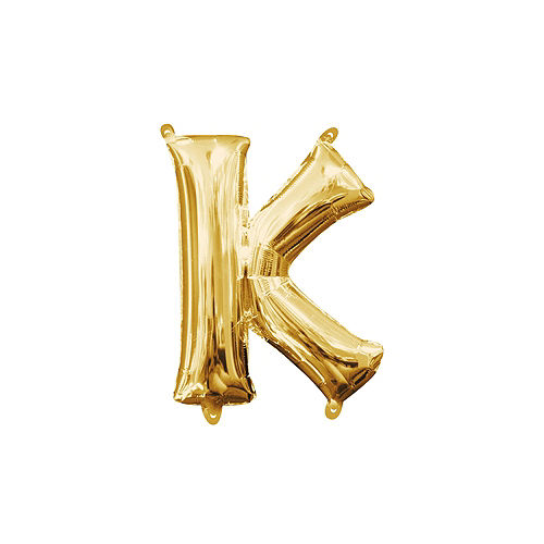 13in Air-Filled Gold Letter Balloon (K) Image #1