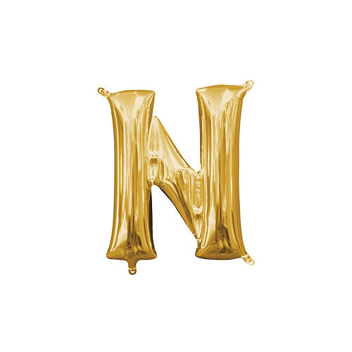 13in Air-Filled Gold Letter Balloon (N) Image #1