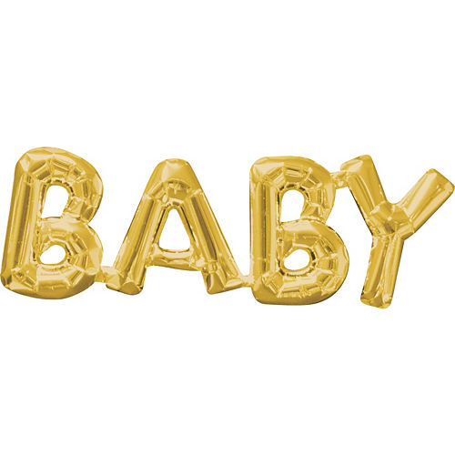 Air-Filled Gold Baby Letter Balloon Banner 26in x 9in Image #1