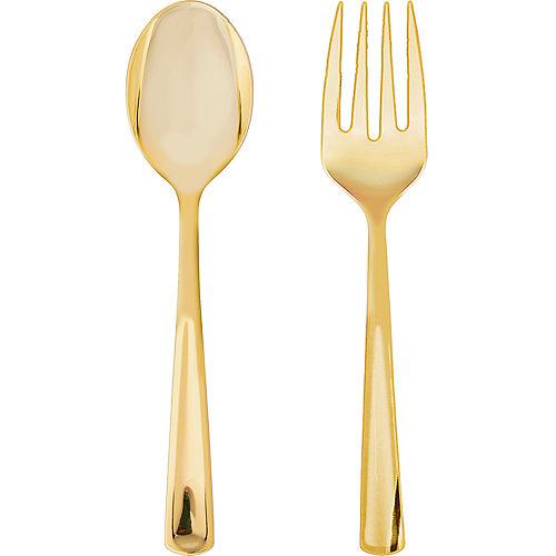 Gold Plastic Serving Forks & Spoons 4ct Image #1