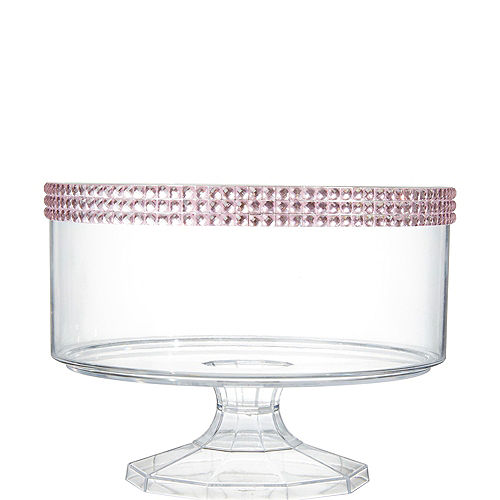 Small Pink Rhinestone Clear Plastic Trifle Container Image #1