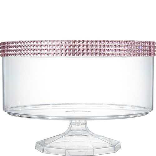 Large Pink Rhinestone Clear Plastic Trifle Container Image #1