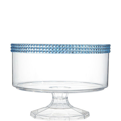 Small Caribbean Blue Rhinestone Clear Plastic Trifle Container Image #1