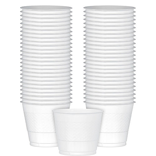 Big Party Pack White Plastic Cups 50ct Image #1