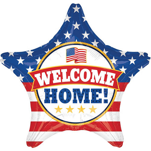 Giant Patriotic Welcome Home Star Balloon 28in Image #1