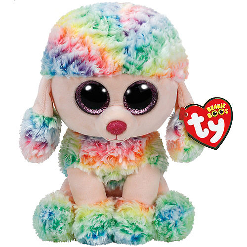 Large Rainbow Beanie Boo Poodle Dog Plush Image #1