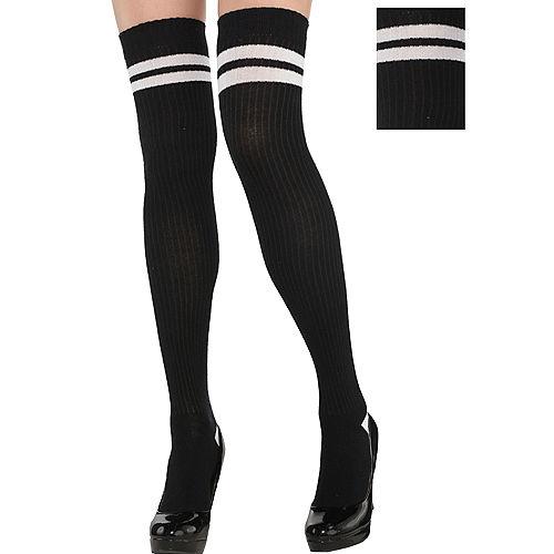 Adult Black & White Knee Socks Image #1