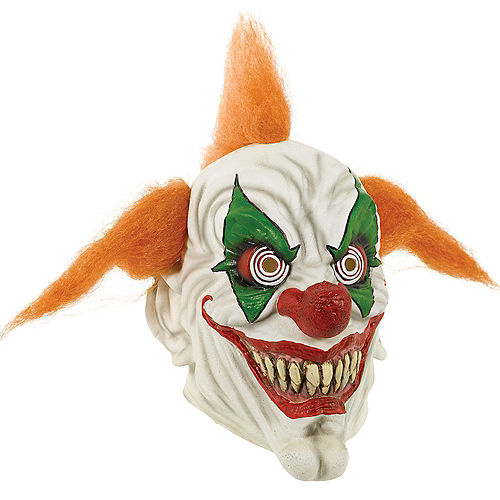 Adult Orange-Haired Clown Mask Image #1