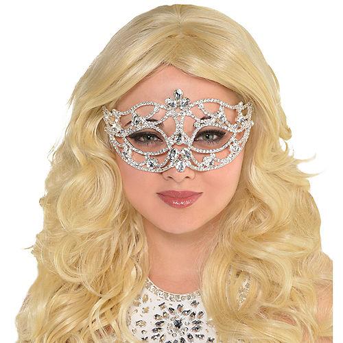 Adult Silver Jewel Masquerade Mask Image #2