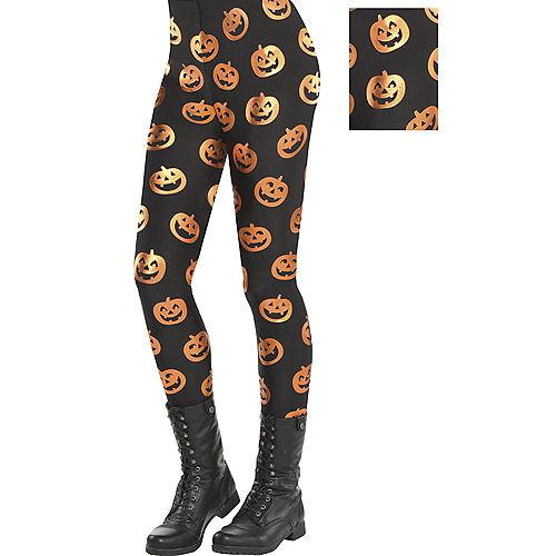 Adult Jack-o'-Lantern Leggings Image #1