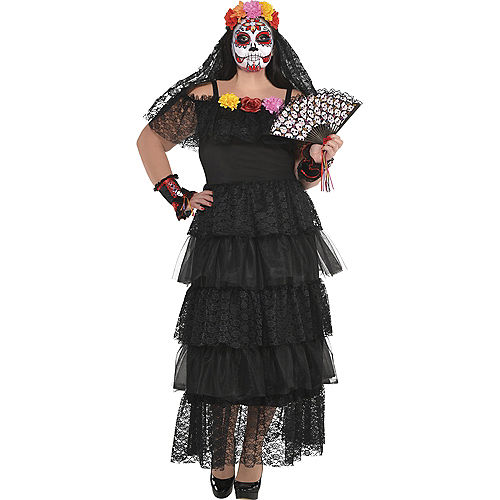 Adult Day of the Dead Dress Plus Size Image #1