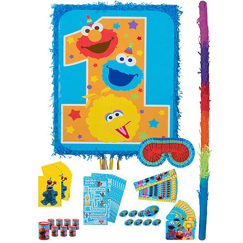 1st Birthday Sesame Street Pinata Kit with Favors Image #1