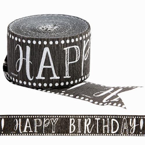 Chalkboard Dots Happy Birthday Streamer Image #1
