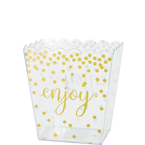 Small Metallic Gold Polka Dots Plastic Scalloped Container Image #1