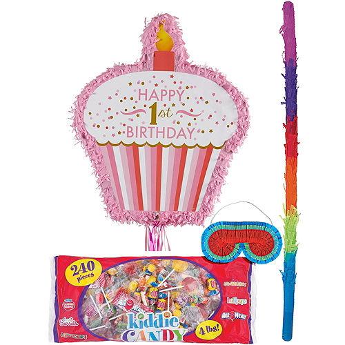 Pink Cupcake 1st Birthday Pinata Kit Image #1