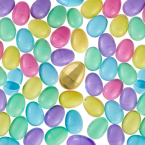 Pastel Fillable Easter Eggs & Gold Egg 144ct Image #1