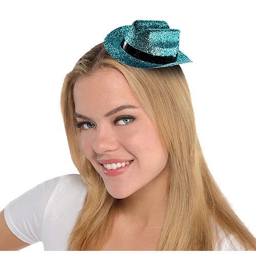 Light Blue Glitter Mini Cowboy Hat Image #1