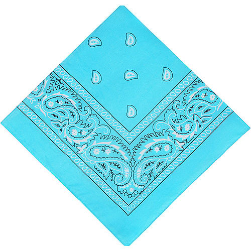 Turquoise Paisley Bandana, 20in x 20in Image #1