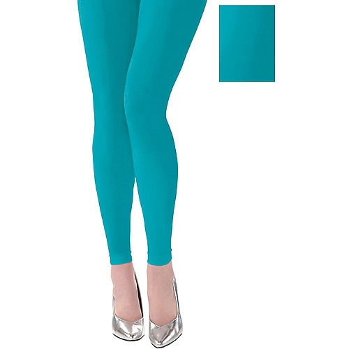 Turquoise Footless Tights Image #1