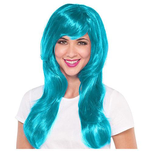 Glamorous Long Turquoise Wig Image #1