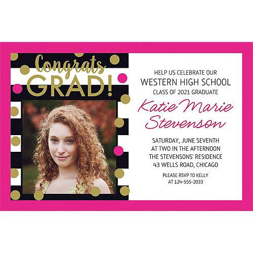 Custom Confetti Graduation Photo Invitation  Image #1