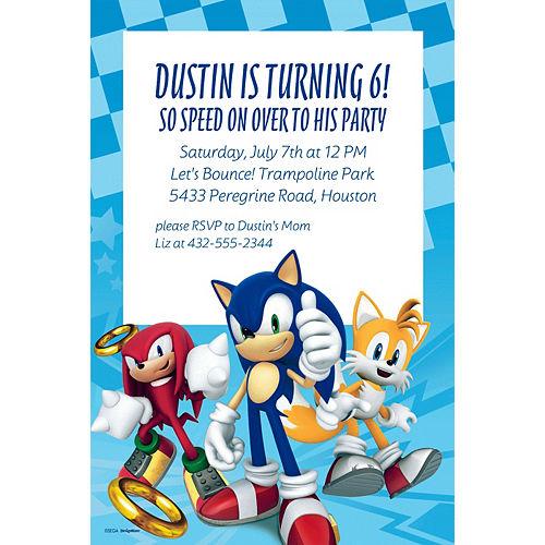 Custom Sonic the Hedgehog Invitation Image #1