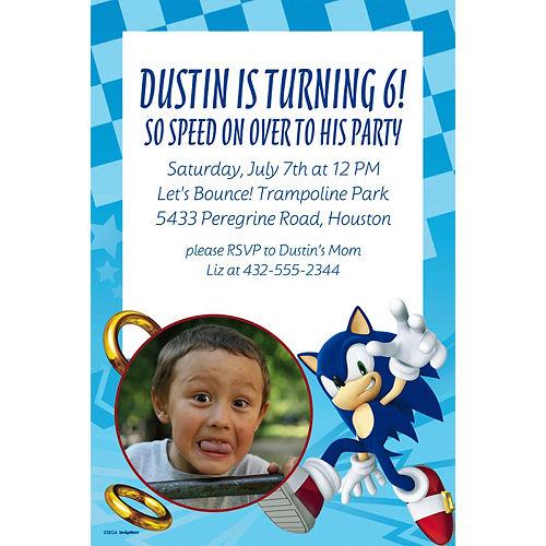 Custom Sonic the Hedgehog Photo Invitation Image #1