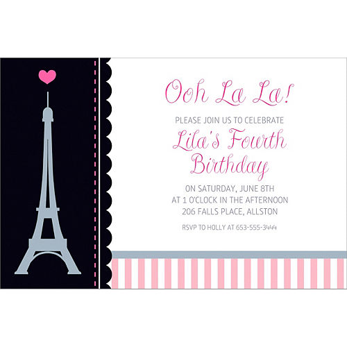 Custom Pink Paris Party Invitation Image #1