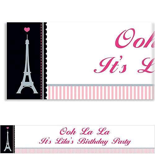 Custom Pink Paris Party Banner Image #1