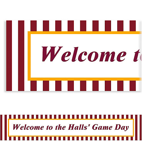 Custom Maroon & Yellow Stripes Banner Image #1