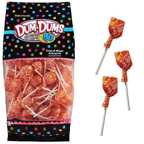Orange Dum Dums Lollipops 80pc Image #1
