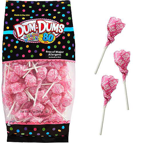 Bright Pink Dum Dums Lollipops 80pc Image #1