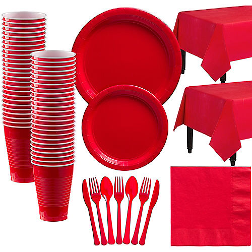 Red Paper Tableware Kit for 50 Guests Image #1
