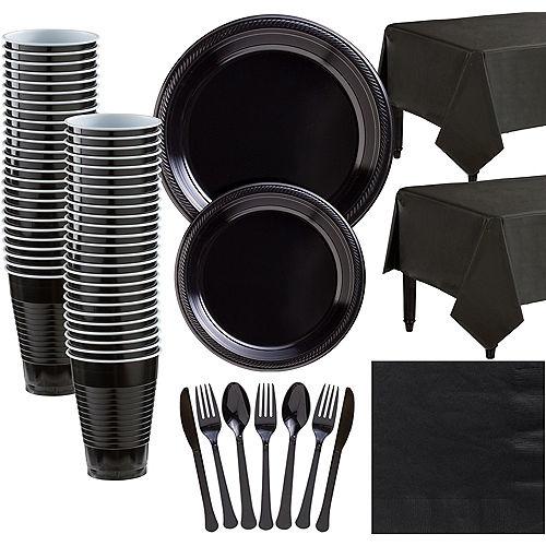 Black Plastic Tableware Kit for 50 Guests Image #1