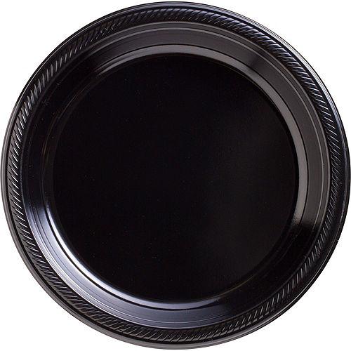 Black Plastic Tableware Kit for 50 Guests Image #3