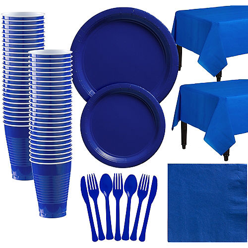 Royal Blue Paper Tableware Kit for 50 Guests Image #1