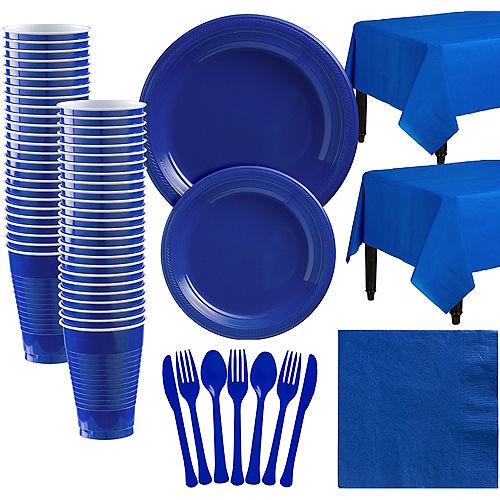 Royal Blue Plastic Tableware Kit for 50 Guests Image #1