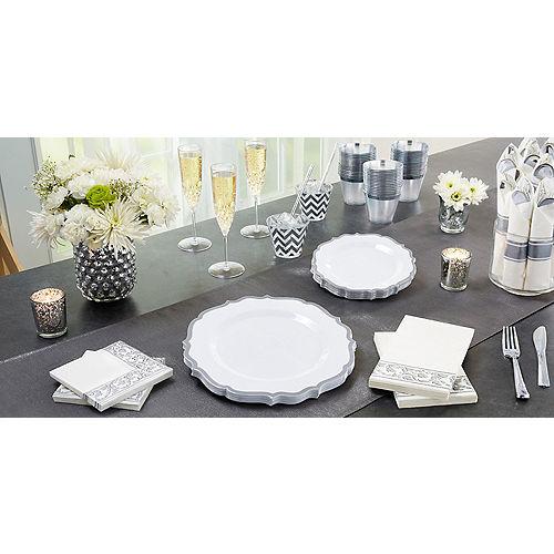 White Silver-Trimmed Ornate Premium Plastic Dessert Plates 20ct Image #2