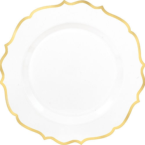 White Gold-Trimmed Ornate Premium Plastic Dinner Plates 10ct Image #1