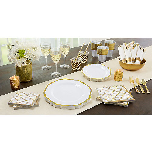 White Gold-Trimmed Ornate Premium Plastic Dinner Plates 10ct Image #2