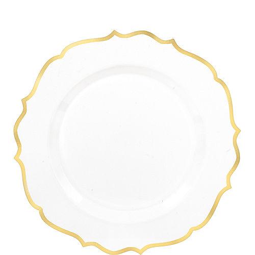 White Gold-Trimmed Ornate Premium Plastic Dessert Plates 20ct Image #1