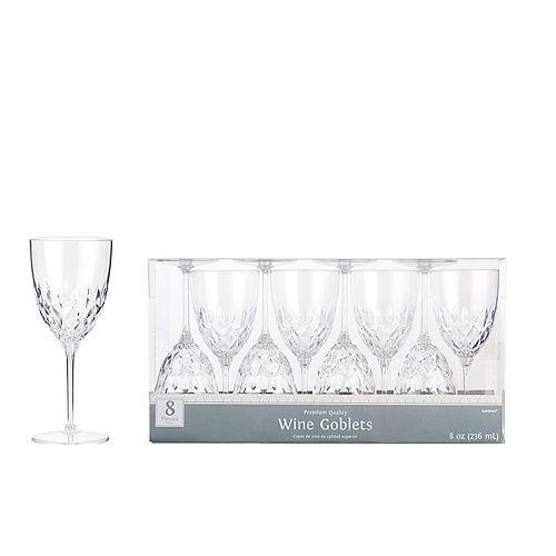 CLEAR Crystal Premium Plastic Wine Glasses 8ct Image #1