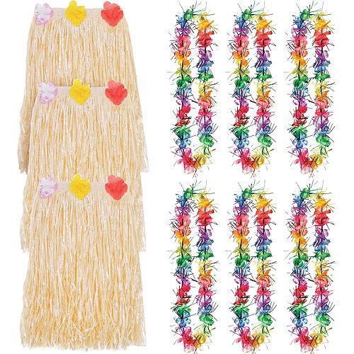 Adult Rainbow Luau Hula Skirt Costume Accessory Kit for 8 Guests Image #1