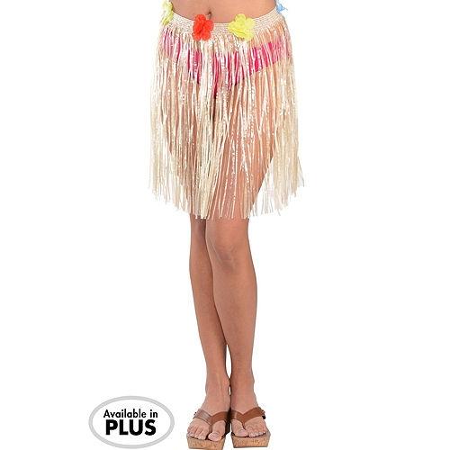 Adult Rainbow Luau Hula Skirt Costume Accessory Kit for 8 Guests Image #3