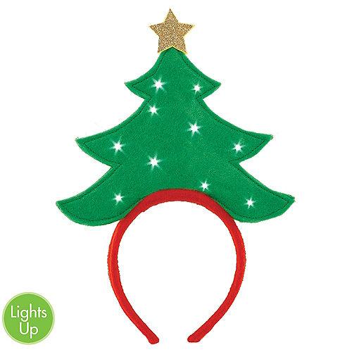 Light-Up Green Christmas Tree Headband Image #1