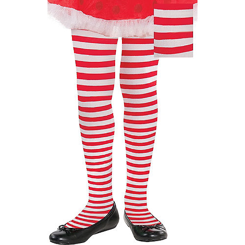 Adult Red & White Striped Tights Plus Size Image #1